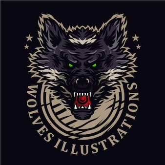 Illustrazione di lupi arrabbiati