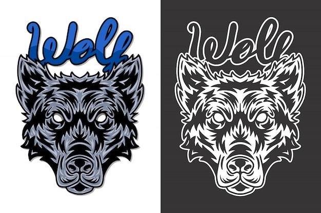 Illustrazione di lupo faccia animale vintage