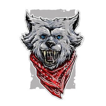 Illustrazione di lupo gangster