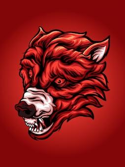 Illustrazione di lupo rosso