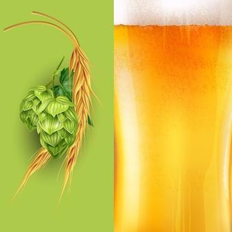 Illustrazione di luppolo, malto e birra