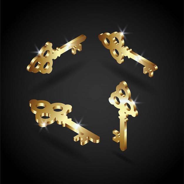Illustrazione di lusso chiave d'oro vettoriale