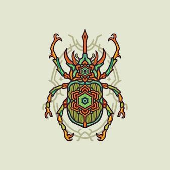 Illustrazione di lusso colorato mandala bug