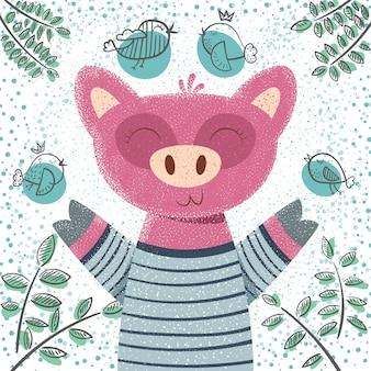 Illustrazione di maiale carino
