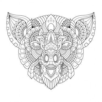 Illustrazione di maiale, mandala zentangle in stile lineare libro da colorare