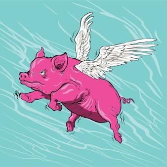 Illustrazione di maiali volanti