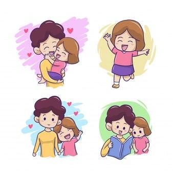Illustrazione di mamma e figlia felice
