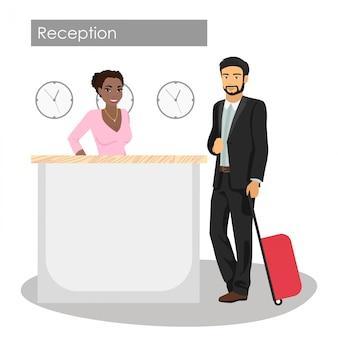 Illustrazione di manager e cliente presso la reception dell'hotel. servizio di portineria. uomo arrivo o check-in nella hall. bella ragazza afroamericana alla reception.