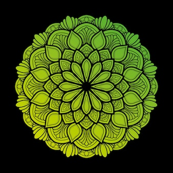 Illustrazione di mandala art decor design. con una sfumatura di verde chiaro e scuro molto naturale.