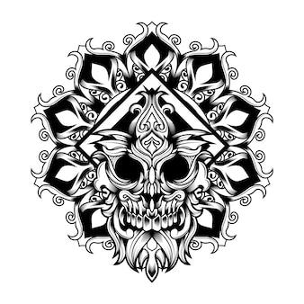 Illustrazione di mandala flower skull vector