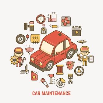 Illustrazione di manutenzione auto