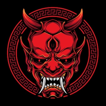 Illustrazione di maschera rossa oni