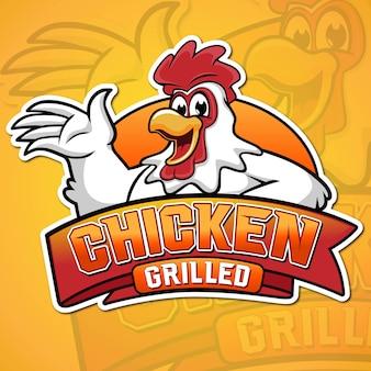 Illustrazione di mascotte di pollo alla griglia