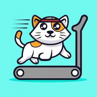 Illustrazione di mascotte simpatico gatto