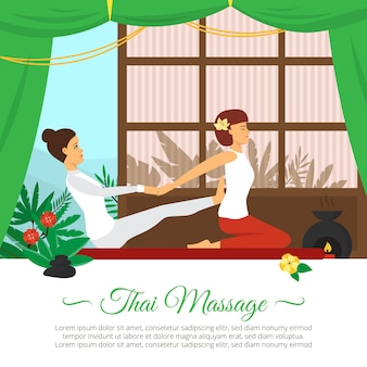 Illustrazione di massaggio e assistenza sanitaria