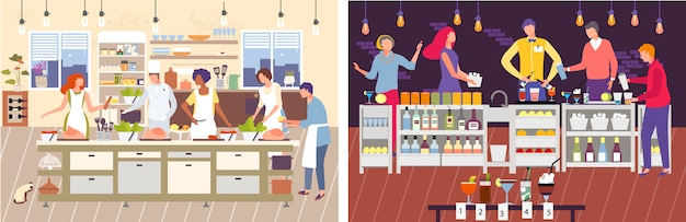 Illustrazione di master class di cucina. personaggio dei cartoni animati uomo donna cucinare cibo con lo chef, barista preparazione cocktail landing page set