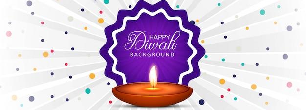 Illustrazione di masterizzazione diya sul banner diwali felice