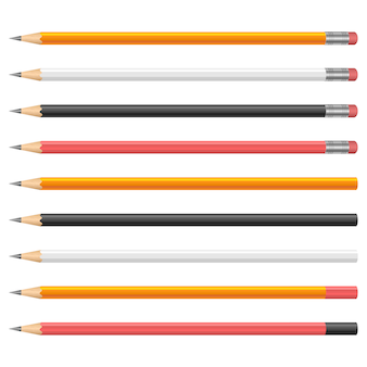 Illustrazione di matite di grafite su sfondo bianco