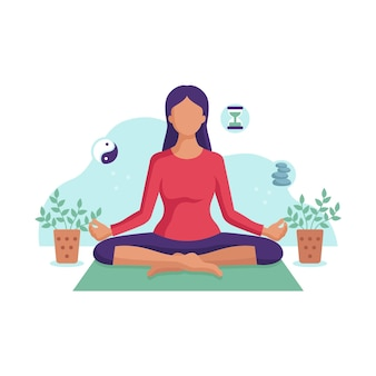 Illustrazione di meditare della giovane donna