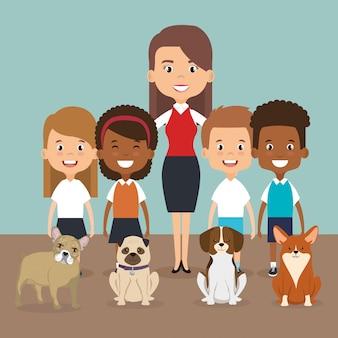 Illustrazione di membri della famiglia con personaggi di animali domestici