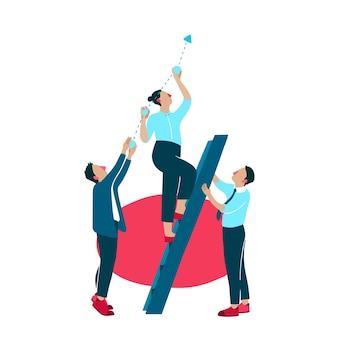Illustrazione di miglioramento della crescita aziendale