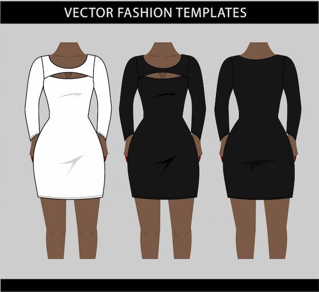 Illustrazione di mini abito davanti e dietro, modello di schizzo piatto di moda