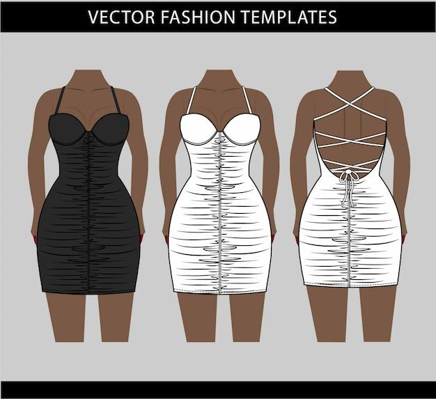 Illustrazione di mini abito, modello piatto di moda schizzo, mini abito increspato davanti e dietro