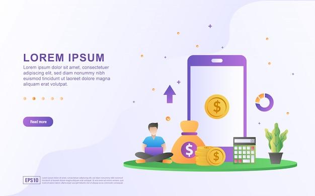 Illustrazione di mobile banking e finanza con un'icona mobile e denaro.