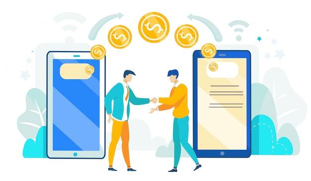 Illustrazione di mobile banking nel telefono, cartoon flat.