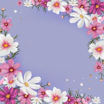 Illustrazione di mockup di confine floreale