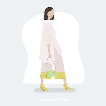 Illustrazione di moda con modello femminile