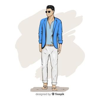 Illustrazione di moda con modello maschile