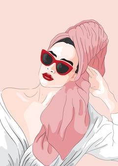 Illustrazione di moda. ragazza di vettore con un asciugamano nei capelli