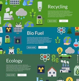 Illustrazione di modello di banner web orizzontale con icone piane di ecologia