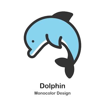 Illustrazione di monocolor delfino
