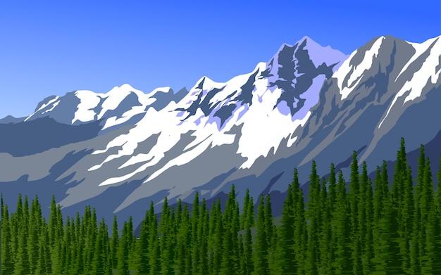 Illustrazione di montagna e pineta