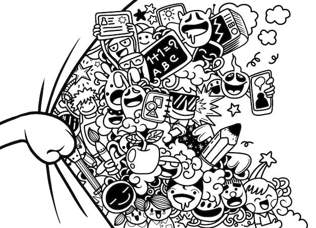Illustrazione di mostri e simpatici alieni