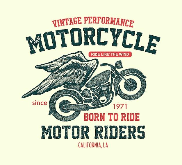 Illustrazione di moto d'epoca disegnata a mano