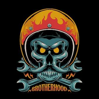 Illustrazione di moto della fratellanza. cranio che indossa il casco da motociclista