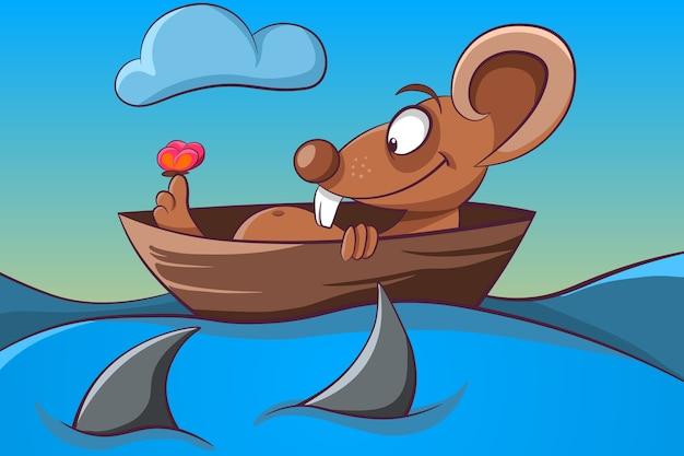 Illustrazione di mouse, farfalla, barca e mare.