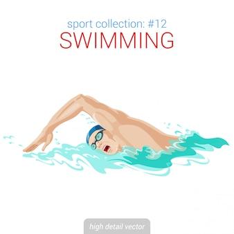 Illustrazione di movimento strisciante uomo nuotatore.