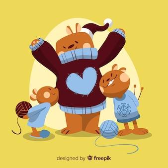Illustrazione di natale a maglia pullover