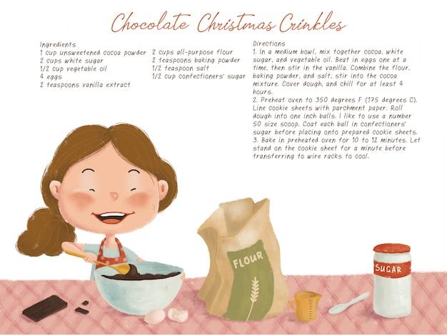 Illustrazione di natale carino con ricetta biscotti al cioccolato