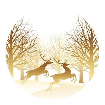 Illustrazione di natale con foresta e renne