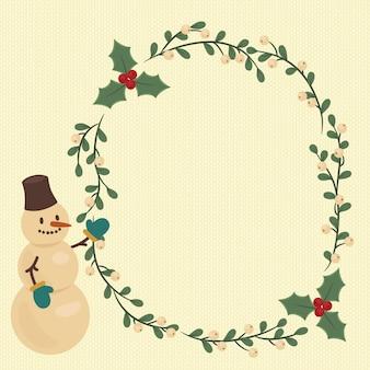 Illustrazione di natale con la corona di bacche e pupazzo di neve