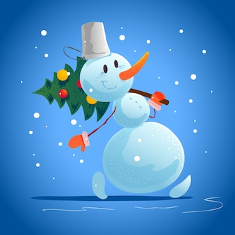 Illustrazione di natale con ritratto di personaggio divertente pupazzo di neve isolato. stile cartone animato. felice anno nuovo e buon natale