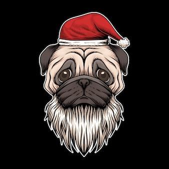 Illustrazione di natale della santa del cappello e della barba del cane del carlino