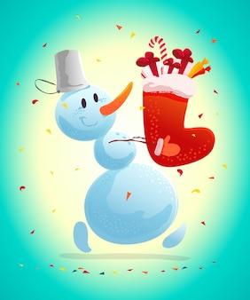 Illustrazione di natale divertente con pupazzo di neve felice. . pupazzo di neve che trasporta doni e regali. elemento di illustrazione del nuovo anno.