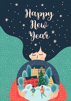 Illustrazione di natale e felice anno nuovo con donna carina.