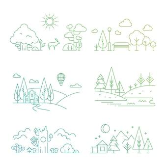 Illustrazione di natura paesaggio con albero, piante, montagne, fiume
